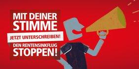 """Logo mit Text: """"Jetzt unterschreiben! Mit deiner Stimme den Renten-Sinkflug stoppen!"""""""