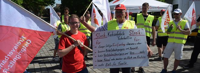 NGG-Warnstreik der Fehrbelliner TULIP-KAKAO-Beschäftigten