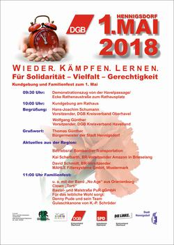 Programm 1.Mai 2018 in Hennigsdorf