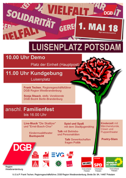 Maiplakat Programm 1.mai 2018 in Potsdam