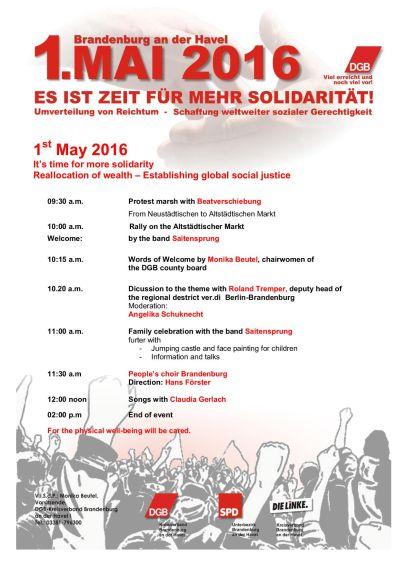 Plakat 1. Mai Brandenburg a.d. Havel englisch
