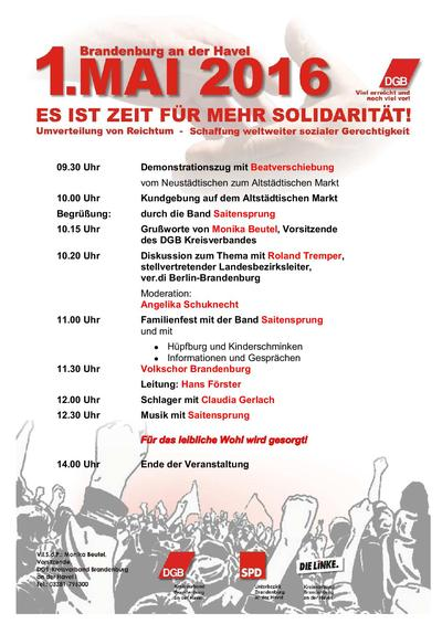 Plakat 1. Mai 2016 Brandenburg a.d. Havel