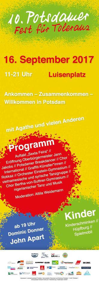 Plakat Potsdamer Toleranzfest 2017
