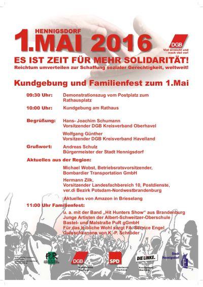 Plakat 1. Mai 2016 Hennigsdorf